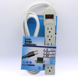 6-Outlet Surge Protector Power Strip with 6ft Cord 14AWG//3, 15A, 90J