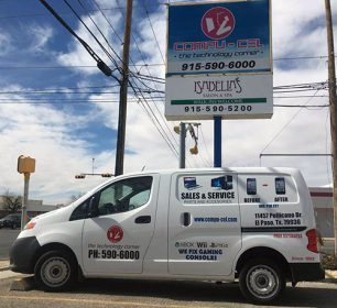 business van and sign
